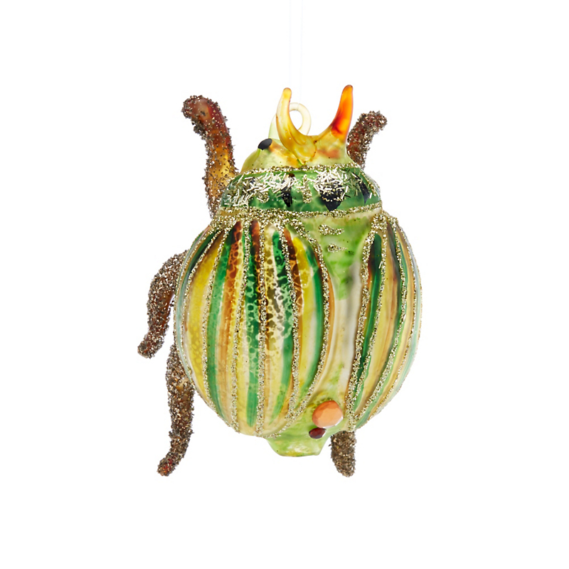 Garden Lover's Green & Gold Glitter Beetle Christmas Ornament