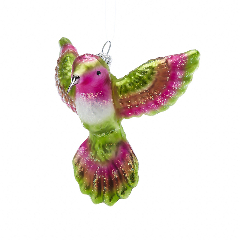 Garden Lover's Green & Pink Hummingbird Christmas Ornament