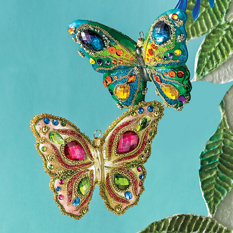 Jeweled Glass Butterfly Ornaments