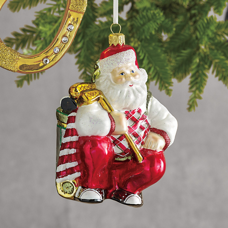 Stroke Of Luck Golfing Santa Christmas Ornament