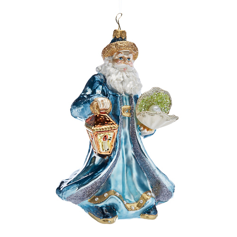Santa With Seashell Sealife Christmas Ornament