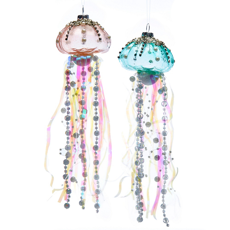 Jellyfish Sealife Christmas Ornament, Set of 2