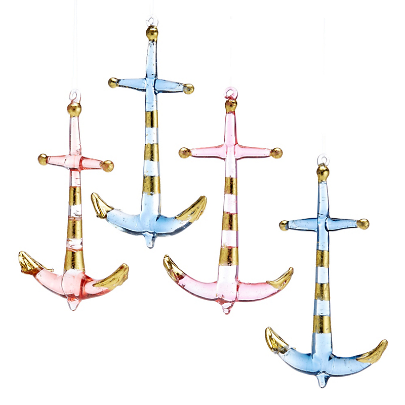Anchors Sealife Christmas Ornament, Set Of 4