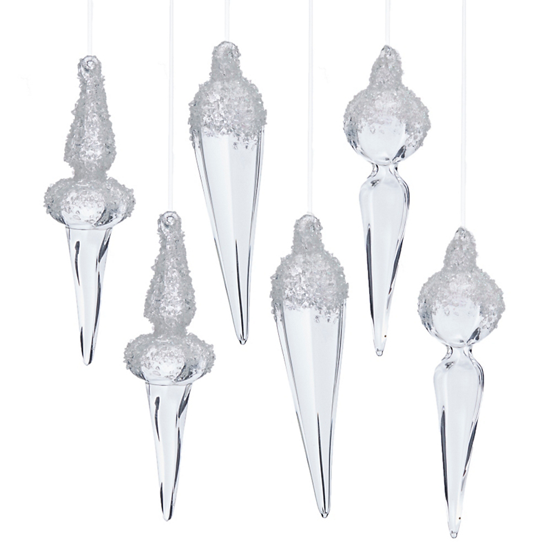 Glitter Finial Ornaments, Set Of 6