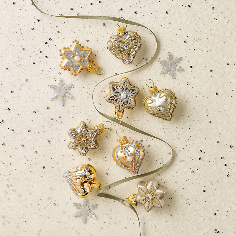 Mini Hearts & Star Christmas Ornaments, Set Of 8