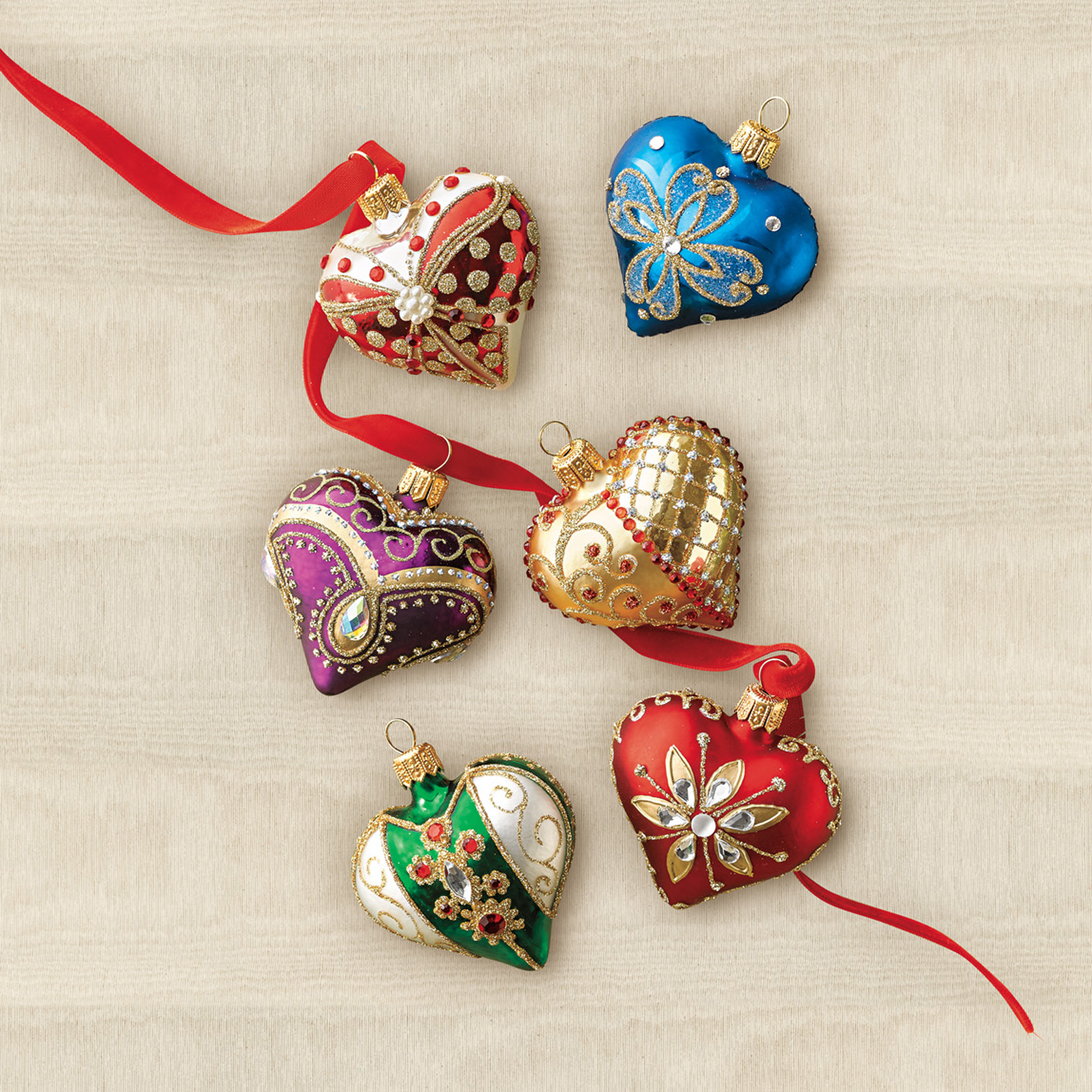 Embellished Heart Christmas Ornaments