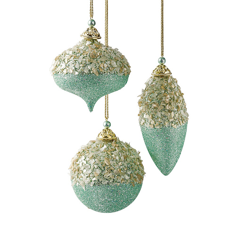 Celestial Glittered Christmas Ornaments, Set Of 3