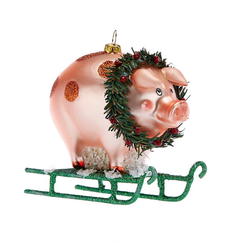 Snow Follies Pig On A Sled Christmas Ornament