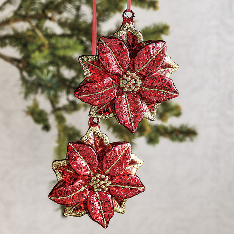 Glittered Poinsettia Christmas Ornaments, Set Of 2