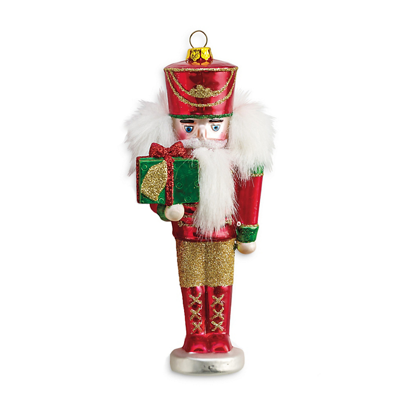 Nutcracker Christmas Ornament, Red & Green