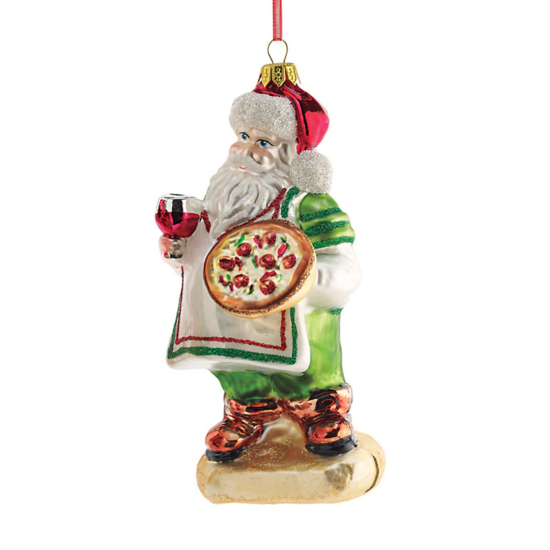 Italian Pizza Santa Christmas Ornament