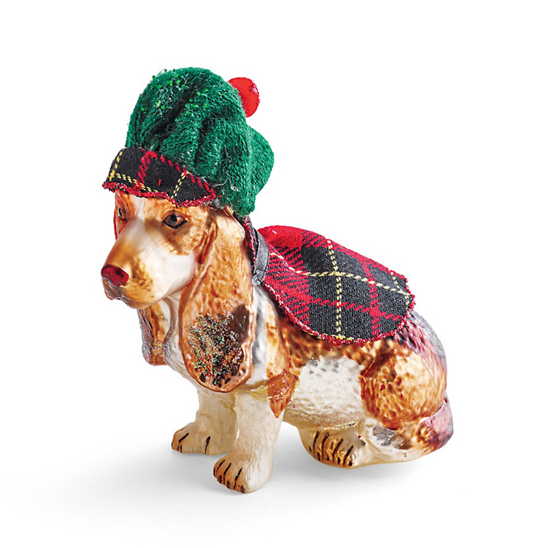 Scottish Basset Hound Christmas Ornament