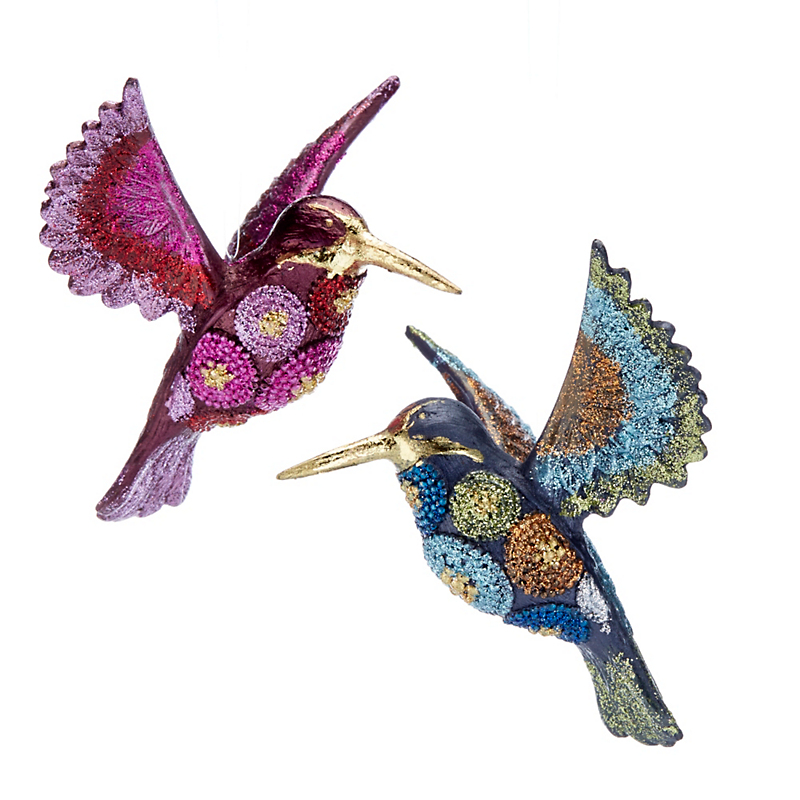 Whimsical Hummingbirds Ornament Set