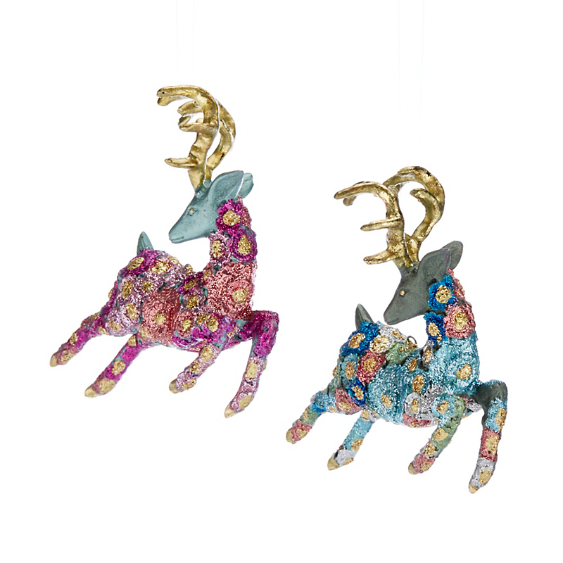 Whimsical Floral Reindeer Ornament Set