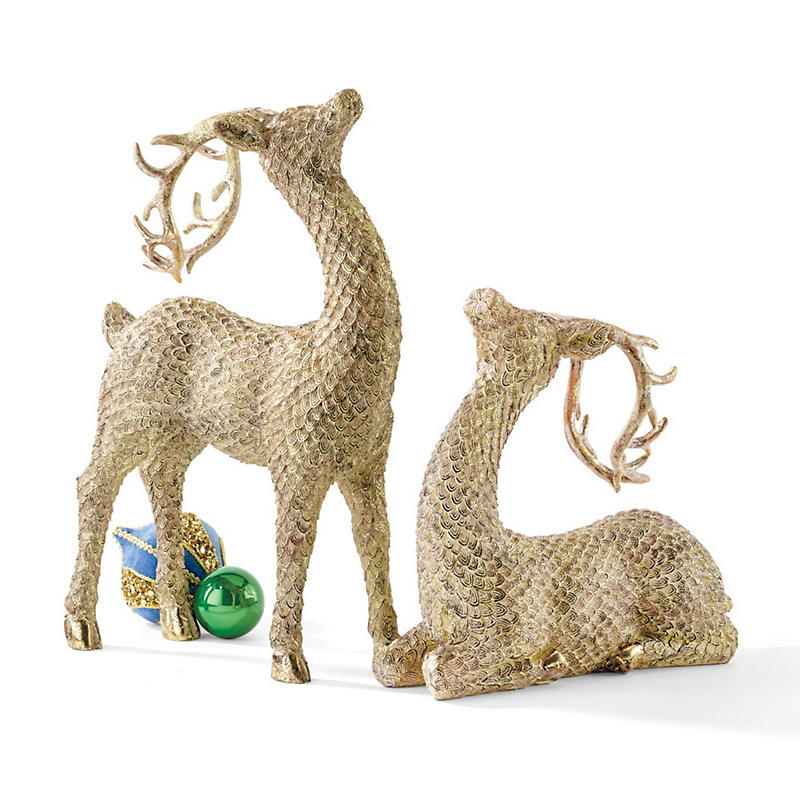 Gold Reindeer Figures, Set Of 2