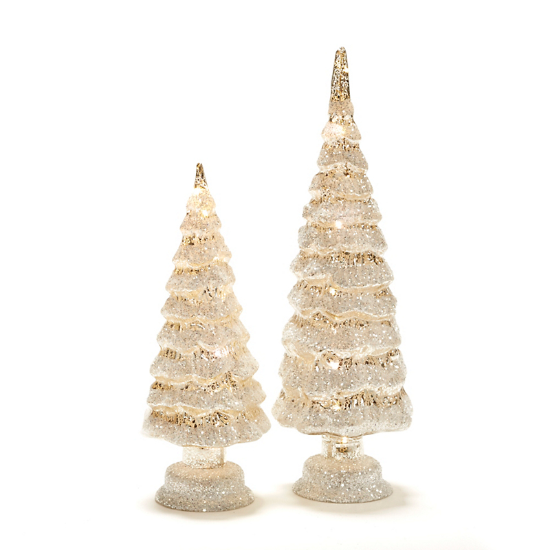 Pre-Lit Snow-Covered Glass Trees, Silver