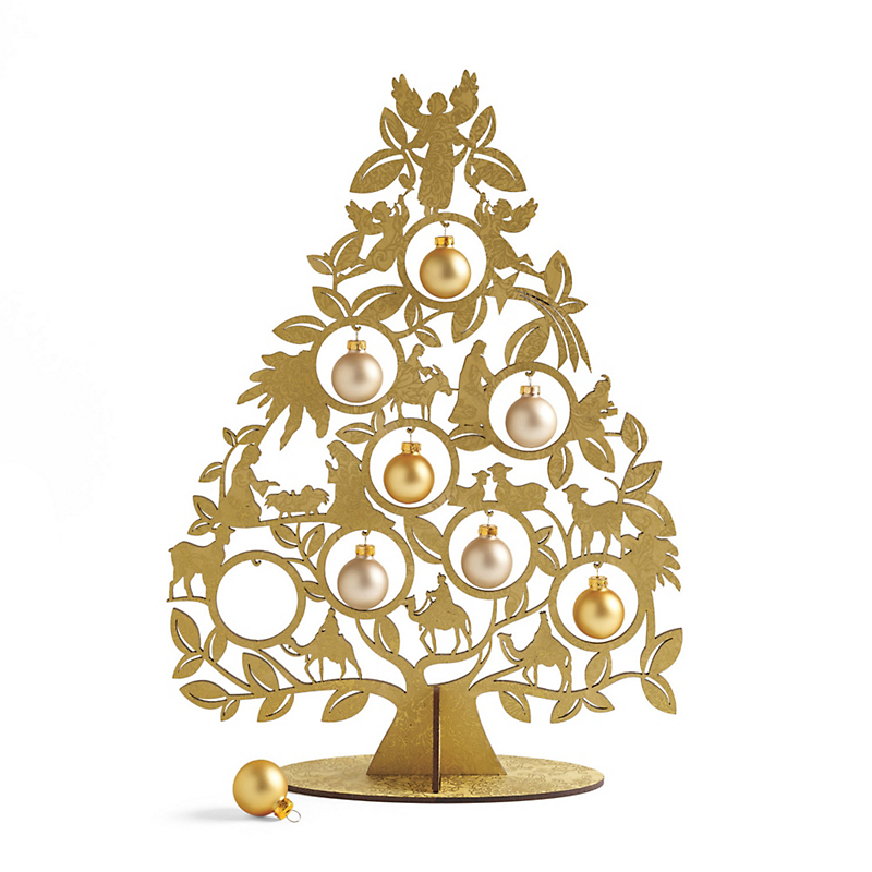 Tabletop Nativity Tree With Ornaments