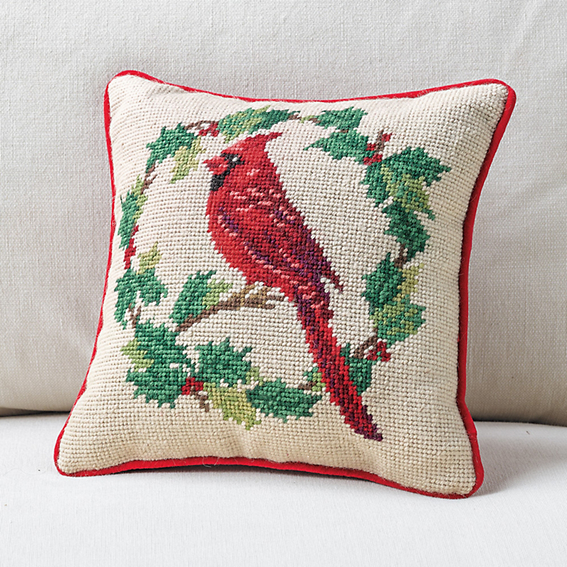 Tis the Season Red Cardinal Needlepoint Pillow