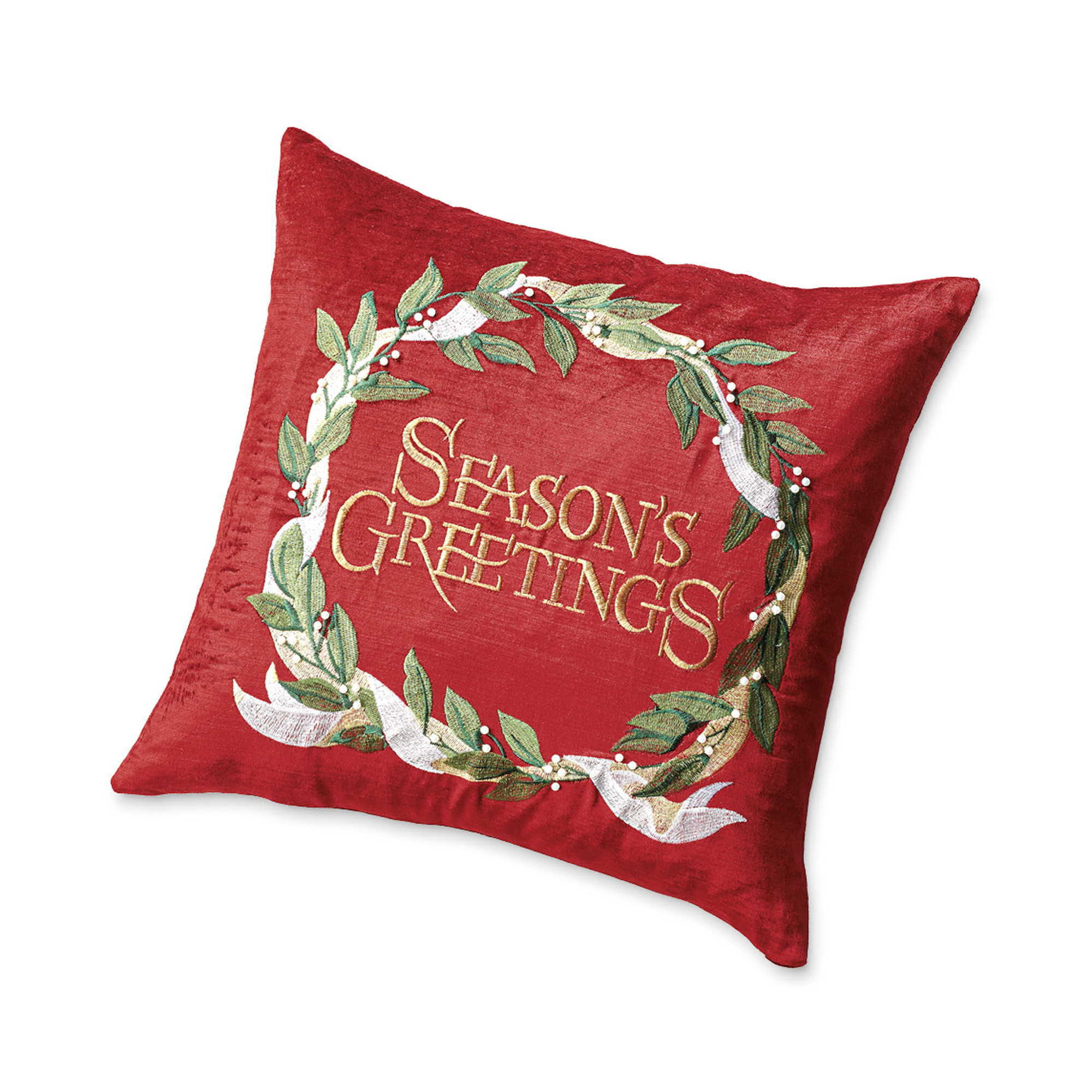 Season's Greetings Velvet Pillow