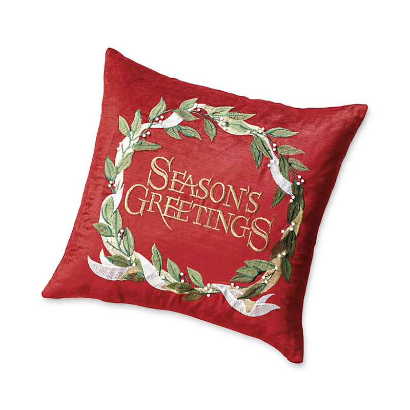 'Season's Greetings' Velvet Pillow