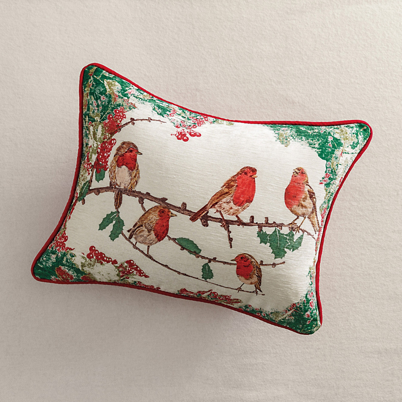 Christmas Robins Velvet Pillow