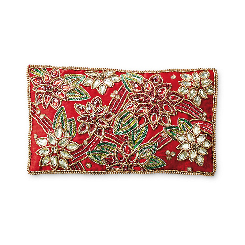 Poinsettia Beaded Pillow