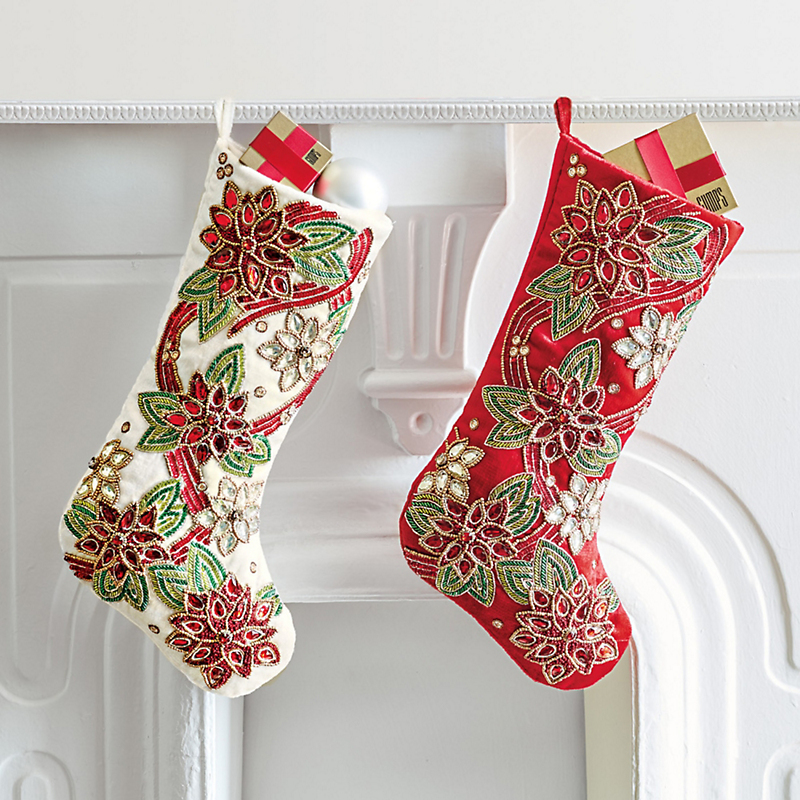 Poinsettia Beaded Stockings