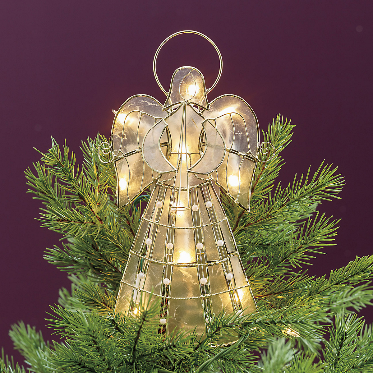 Illuminated Capiz Angel Tree Topper