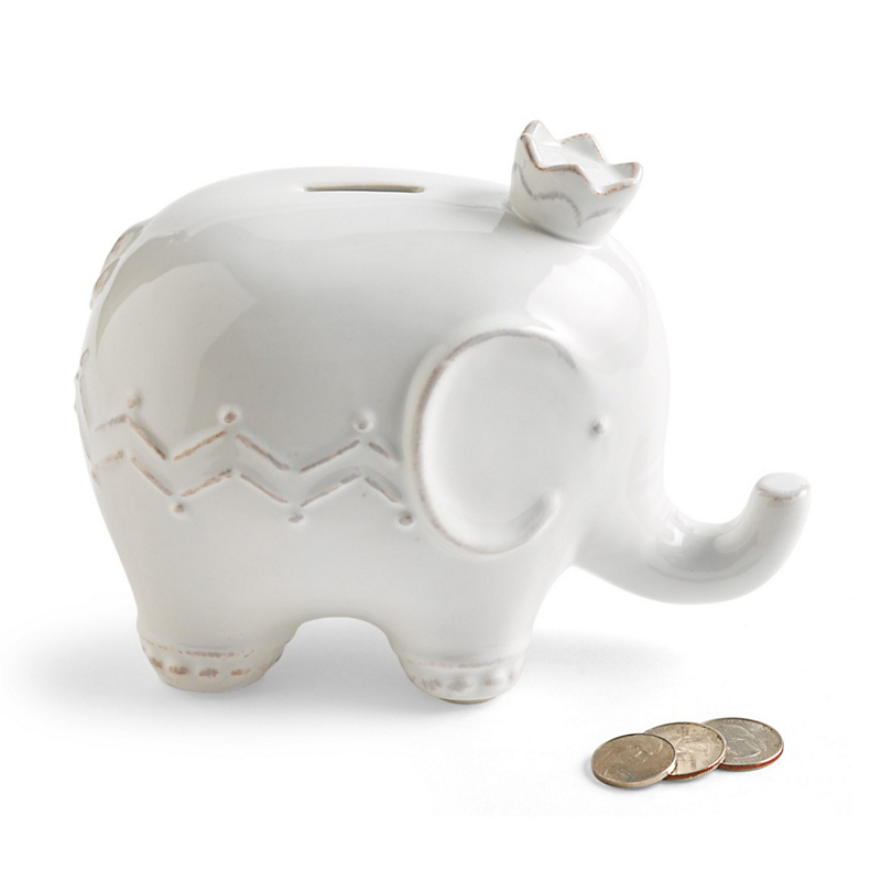 White Ceramic Elephant Prince Bank