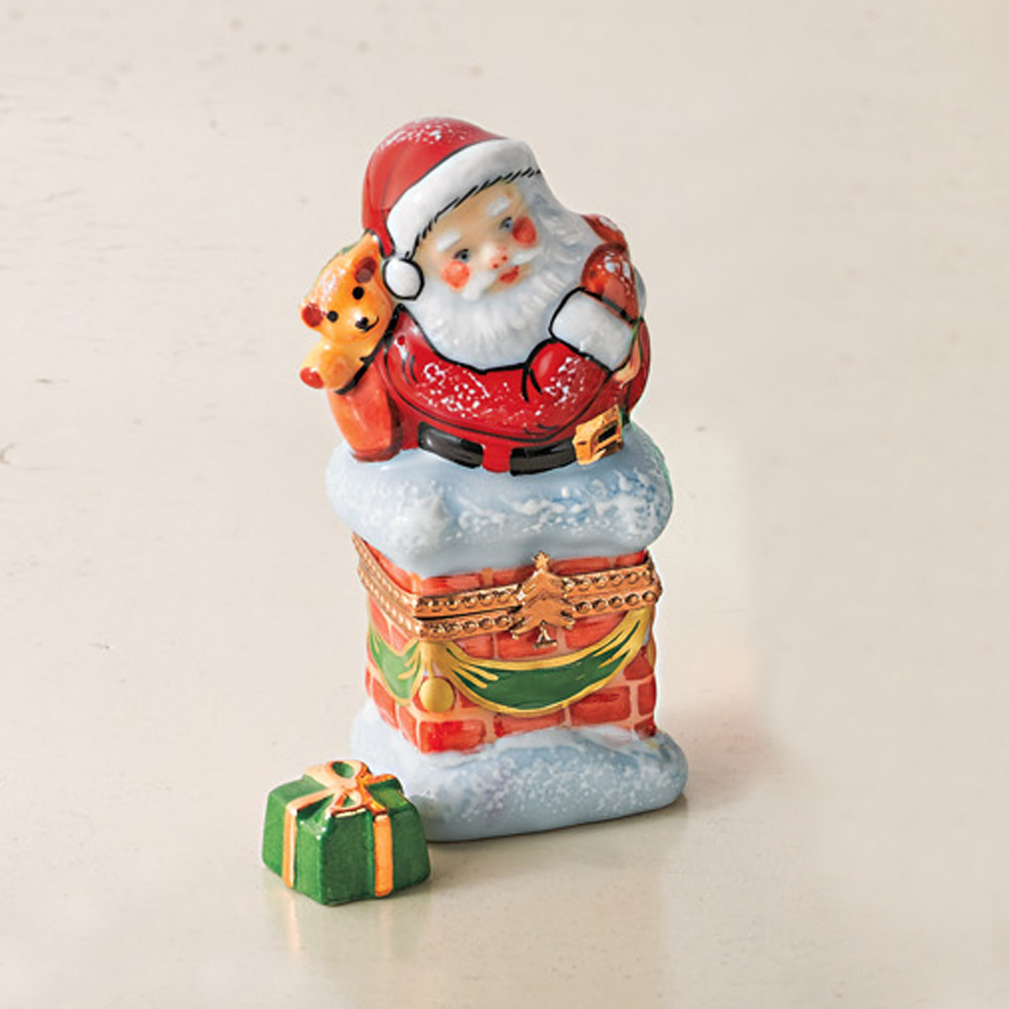 Cozy Christmas Santa With Gift Limoges Box