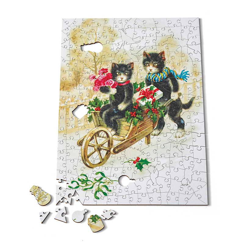 Holiday Cats With Wheelbarrow Puzzle