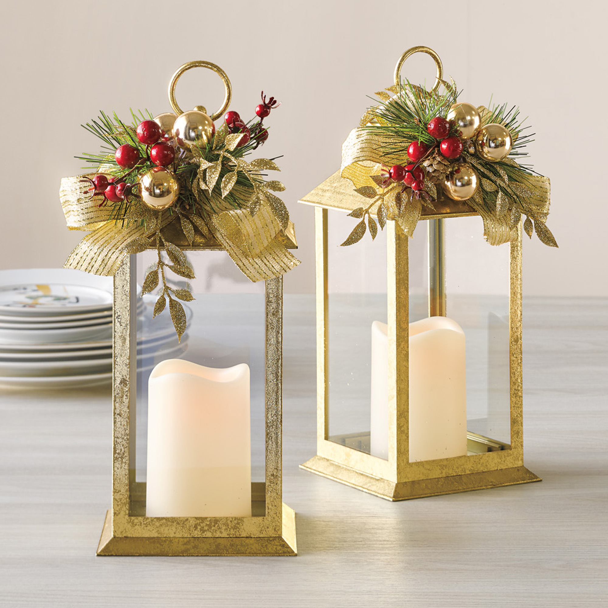 Gold Holiday Flameless Lantern