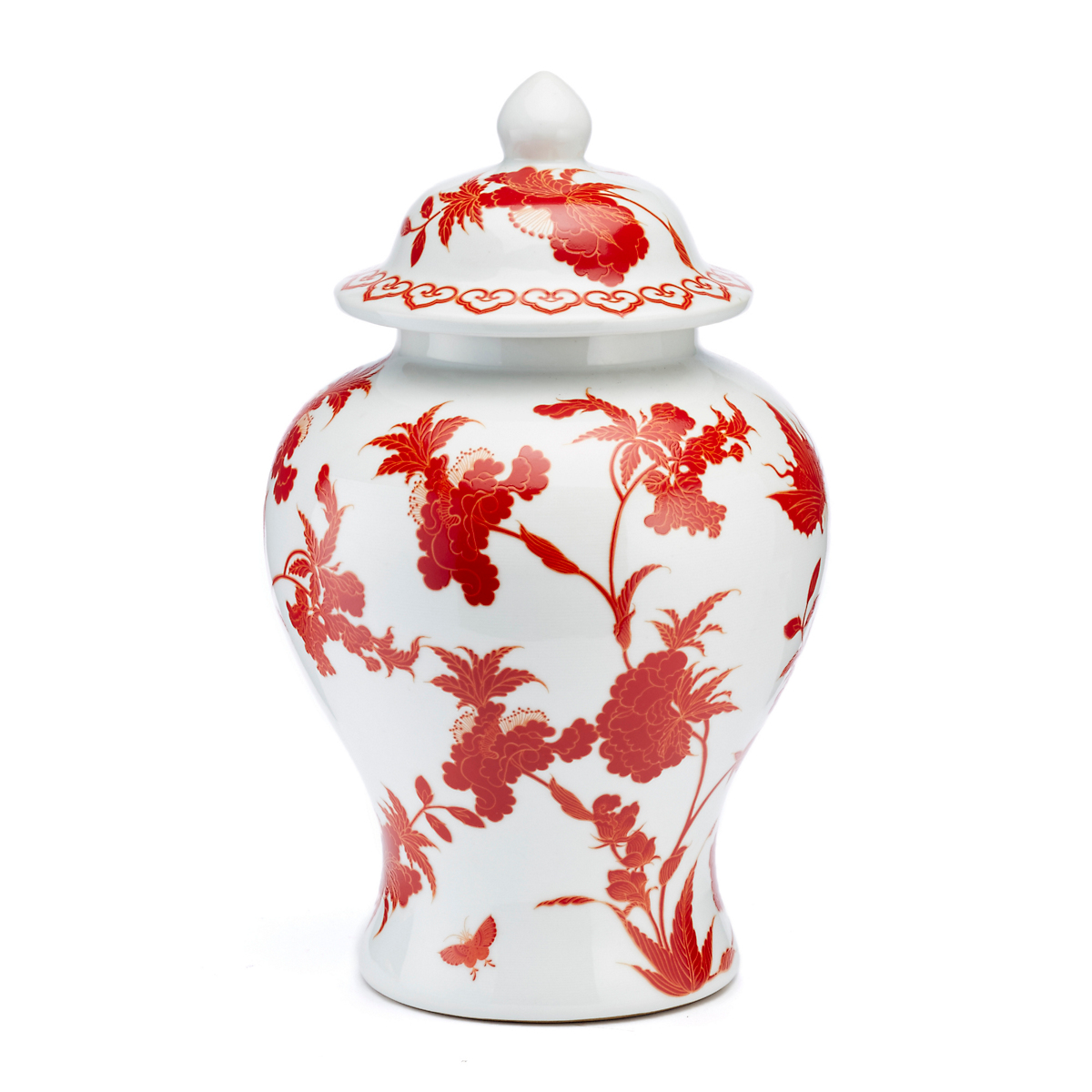 Red & White Peony Butterfly Jar