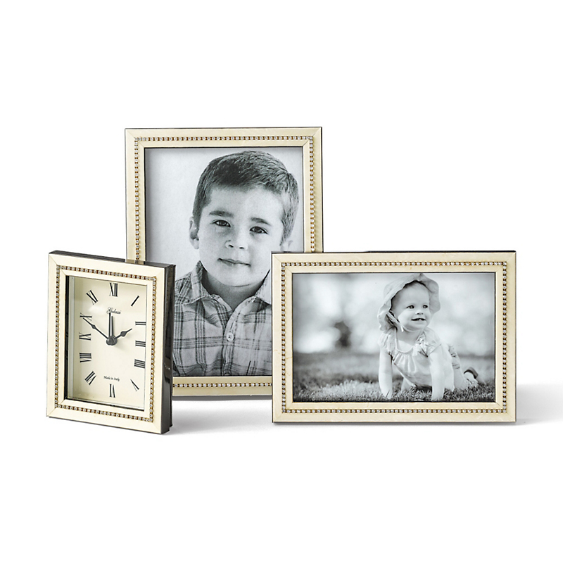 Crystal-Accented Burlwood Picture Frames & Clock