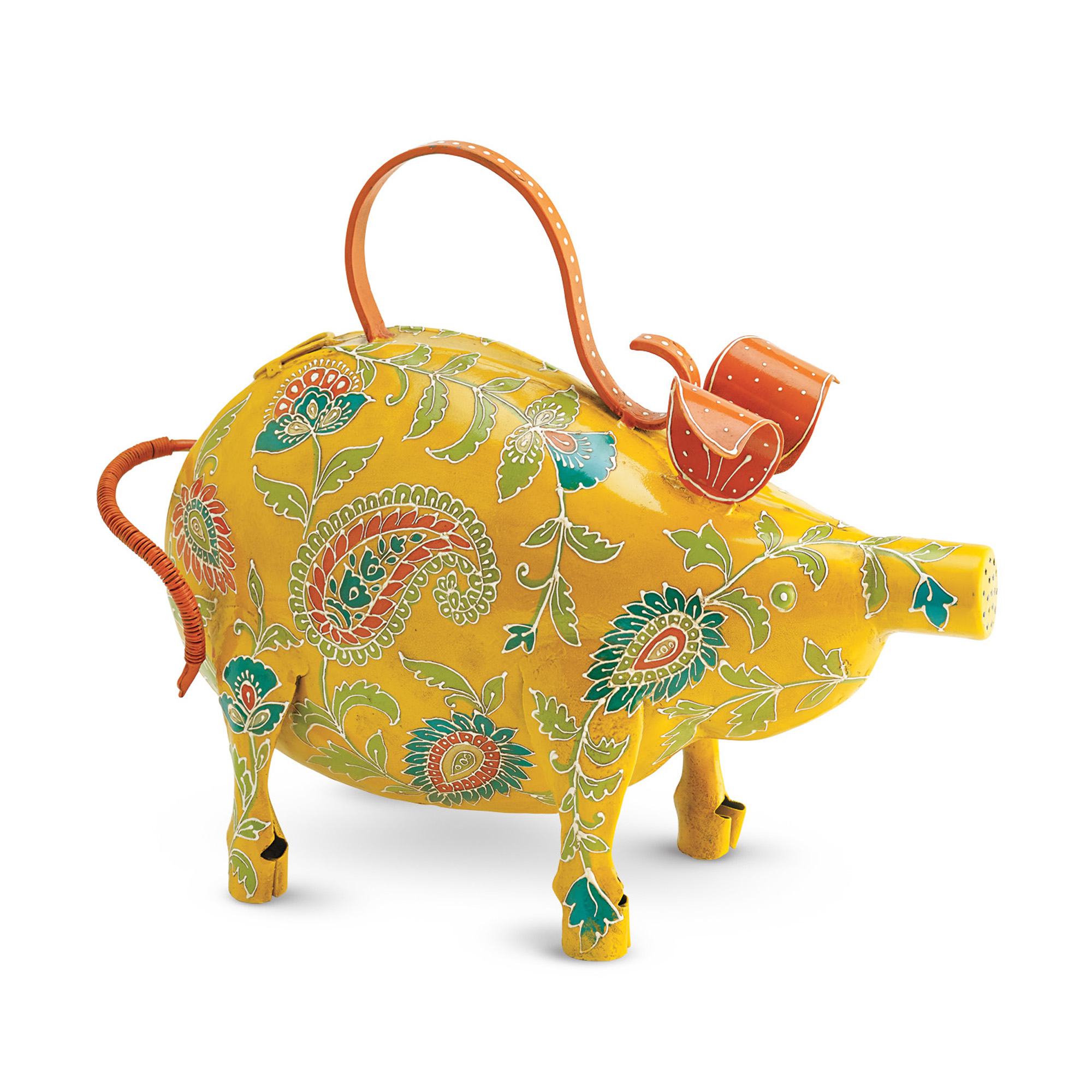 Paisley Pig Watering Can, Yellow