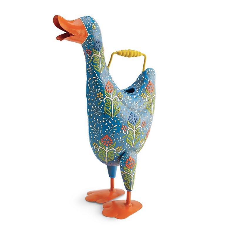 Floral Duck Watering Can, Blue