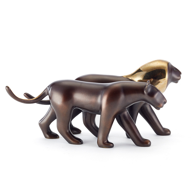 Loet Vanderveen Legacy Edition Bronze Figure, Lion Pair In Burgundy