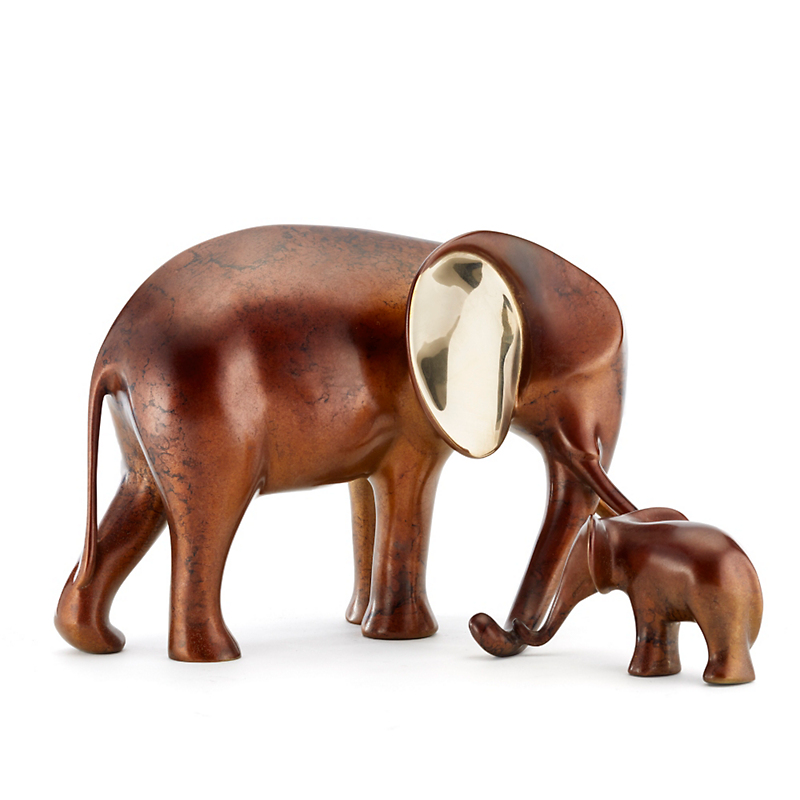 Loet Vanderveen Legacy Edition Bronze Figure, Elephant & Baby In Marbled Brown