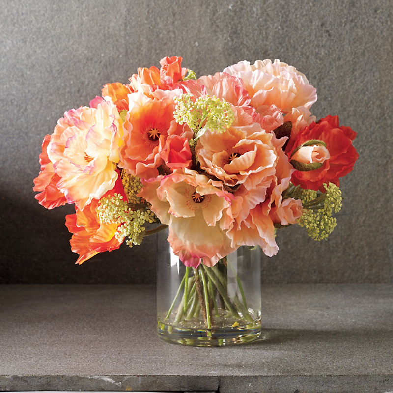Blooming Coral Poppies Arrangement
