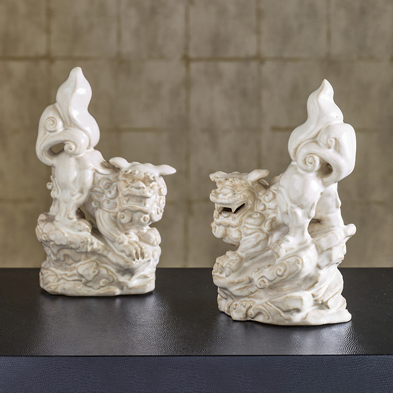 White Ceramic Foo Dog Figures, Set Of 2
