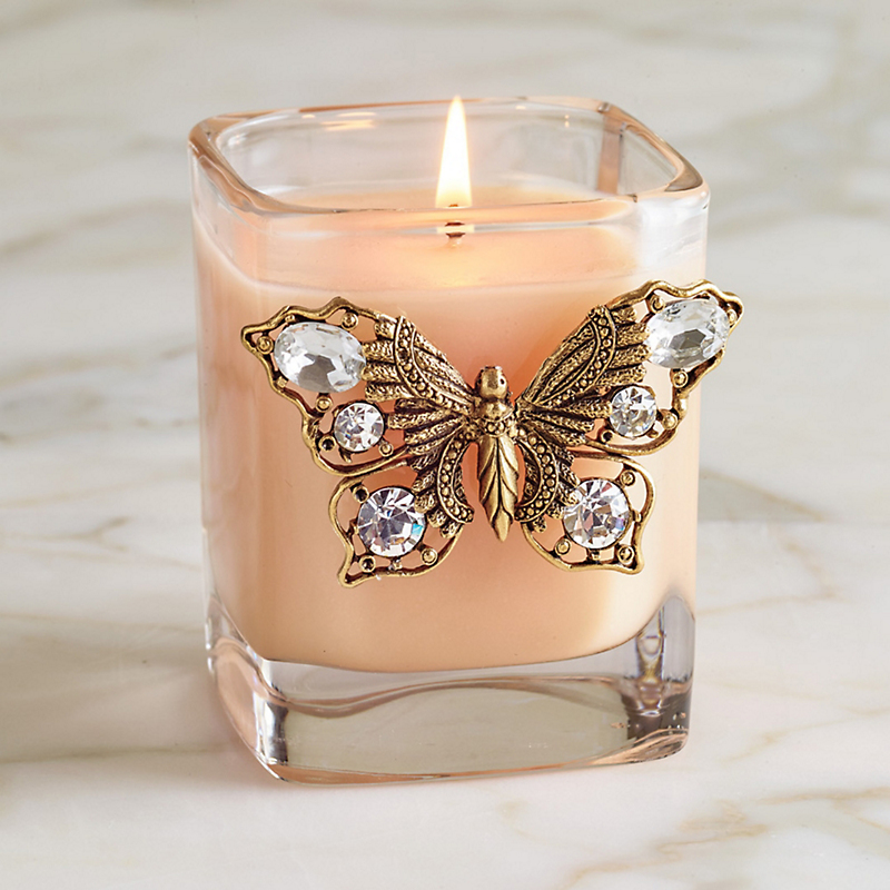 Swarovski Butterfly Peach Candle