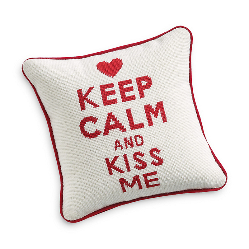 Keep Calm And Kiss Me Needlepoint Pillow
