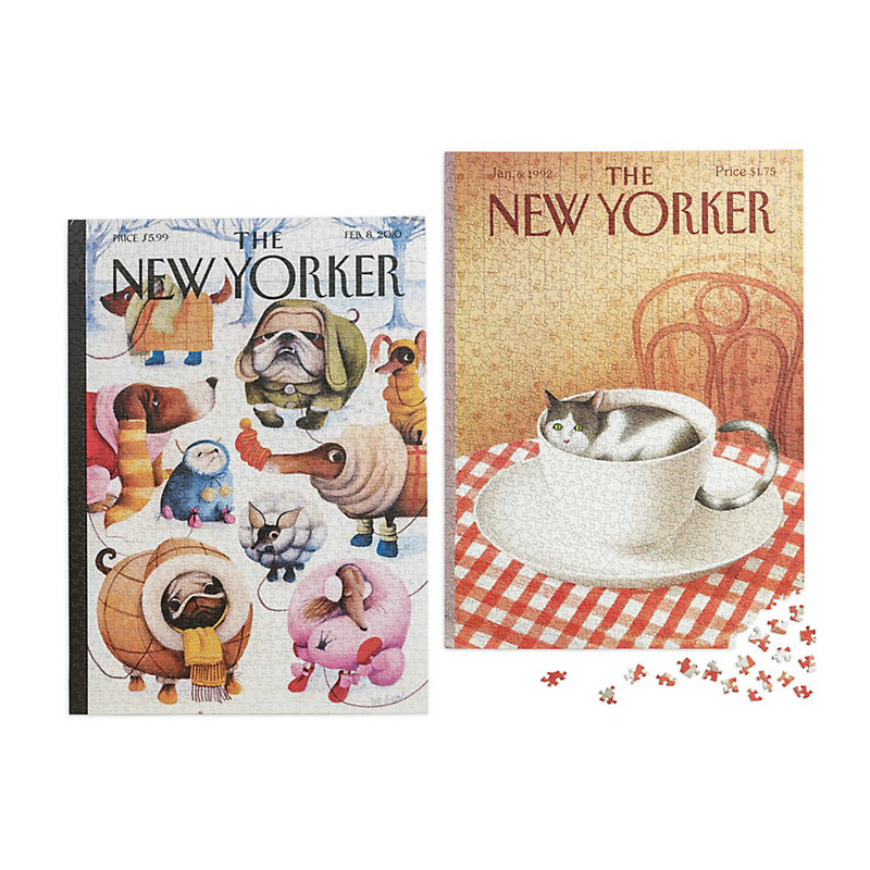 New Yorker Dogs & Cats Jigsaw Puzzles, Set Of 2