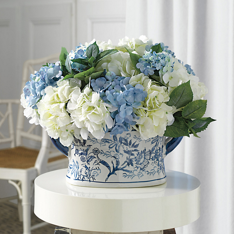 Chinoserie Blue & White Hydrangea Centerpiece