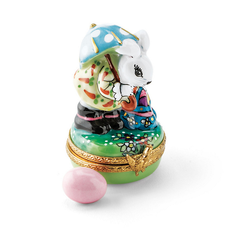 Limoges Easter Miss Bunny & Pink Egg
