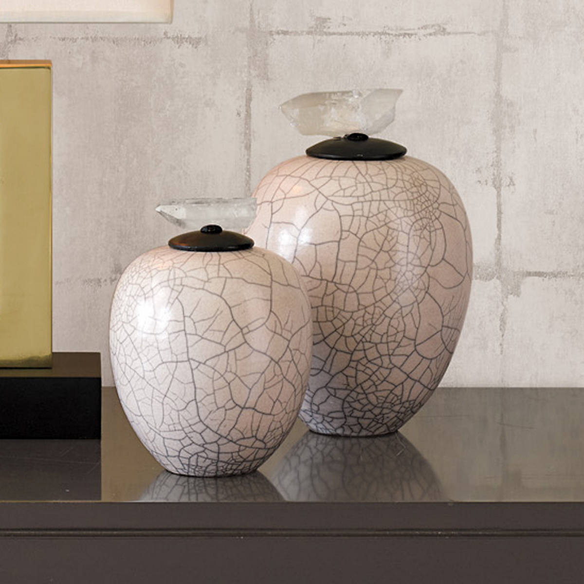 Raku Vases With Crystal Tops