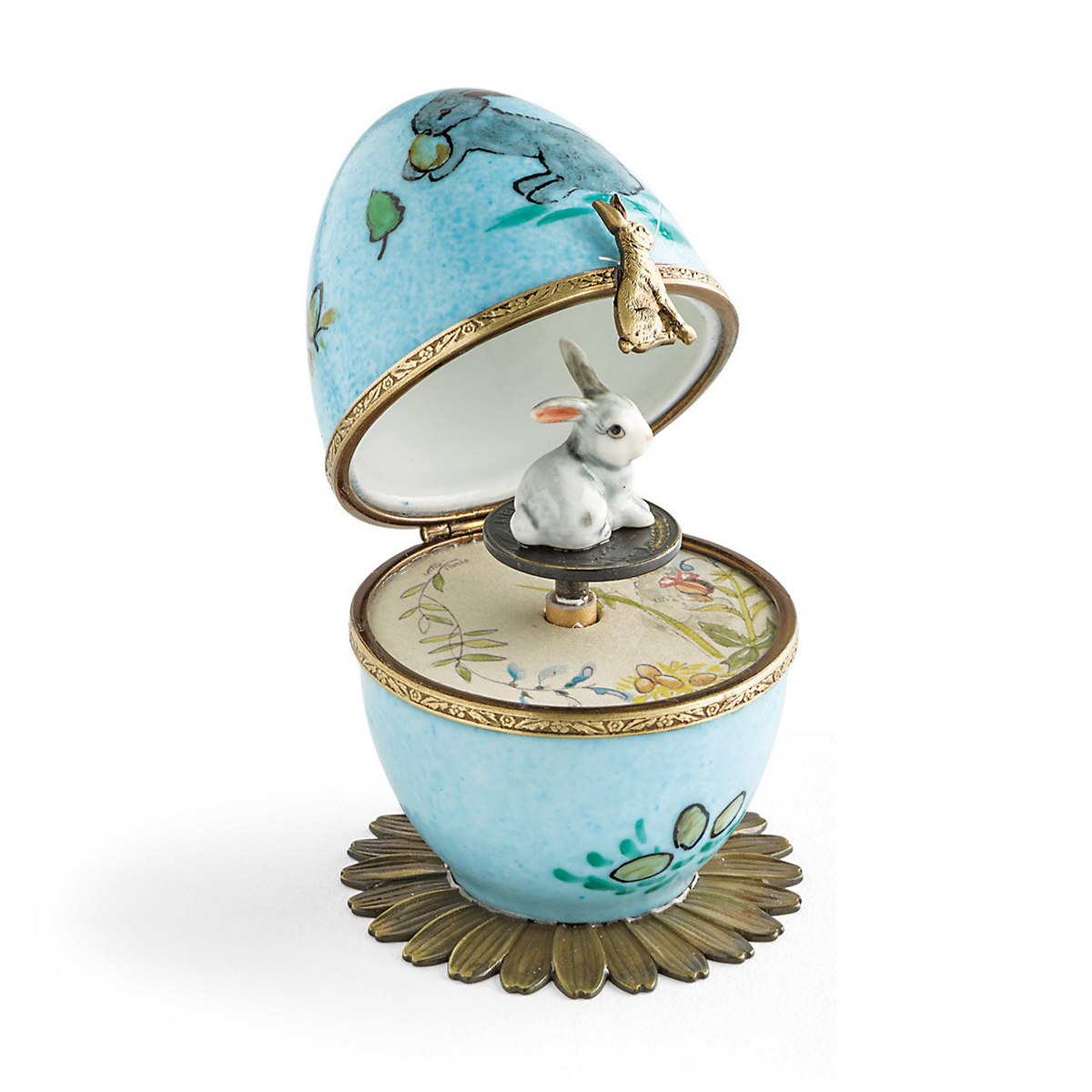 Limoges Bunny Music Box