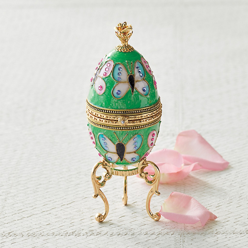 Enameled Butterfly Egg Music Box