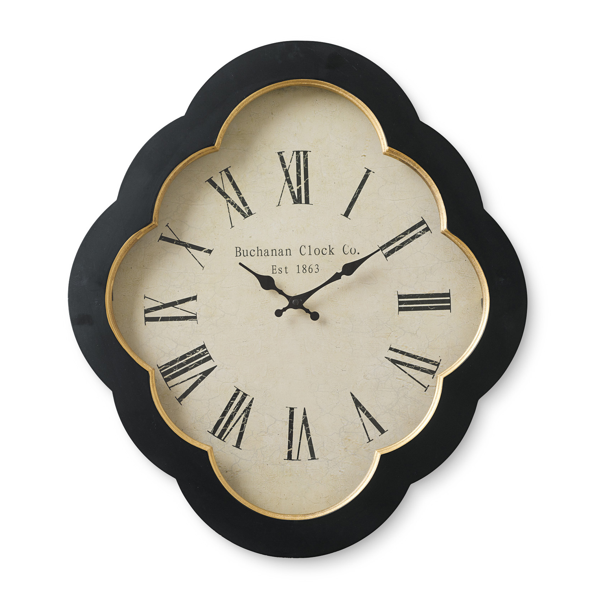 Black Quatrefoil Wall Clock