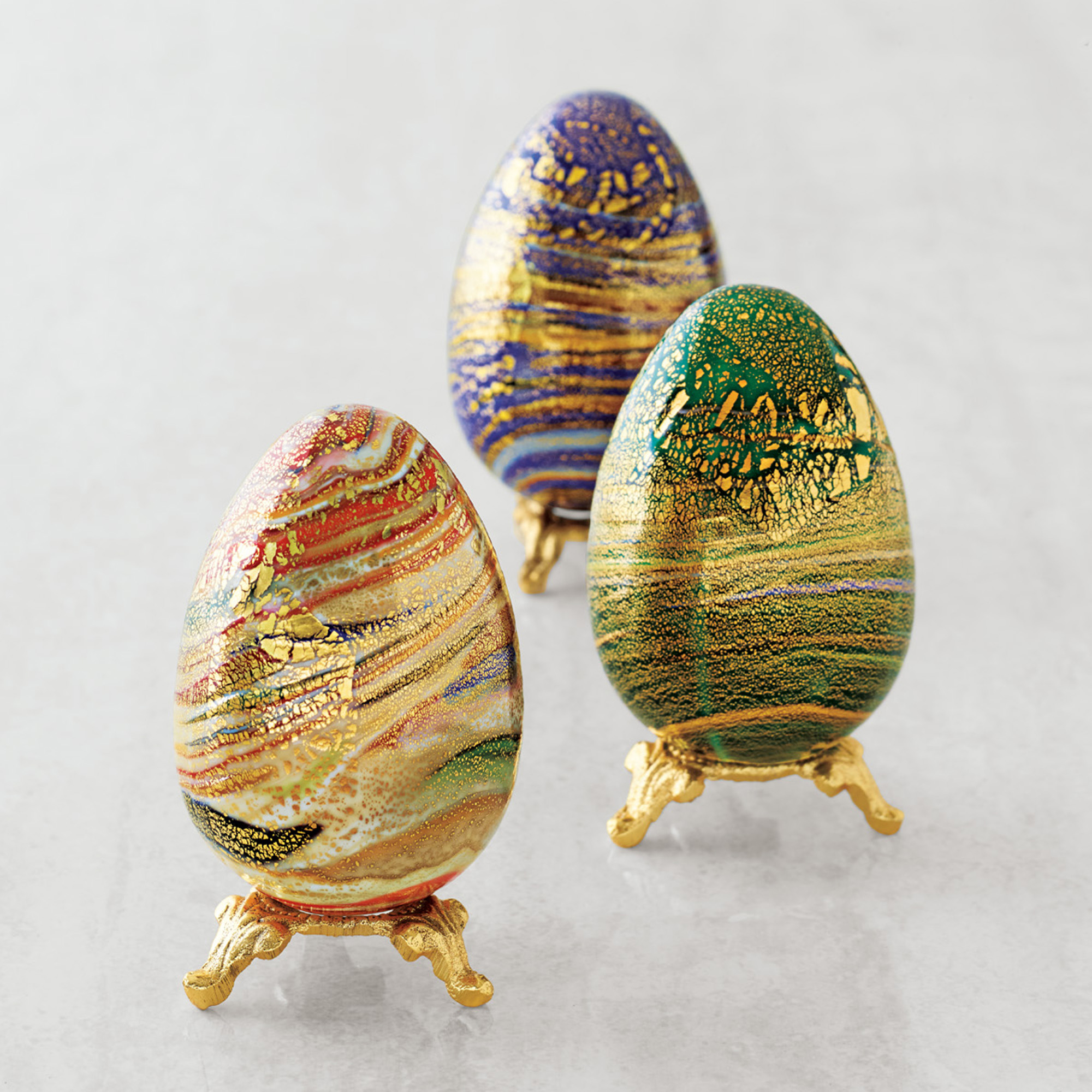 Venetian Glass Eggs With Stand